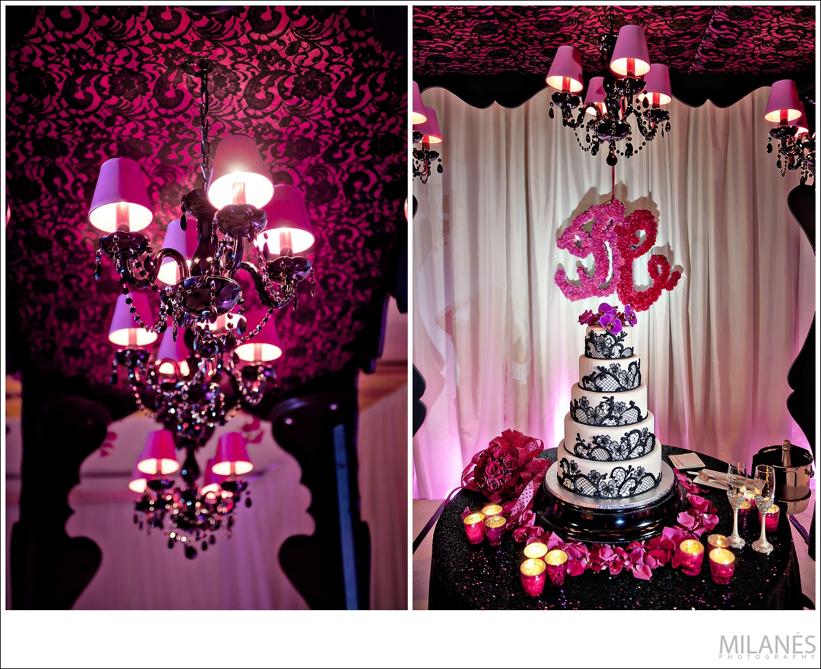 reception_room_decor_ideas_ellyb_events_andy_beach_black_lace_cake_chandelier_monogram