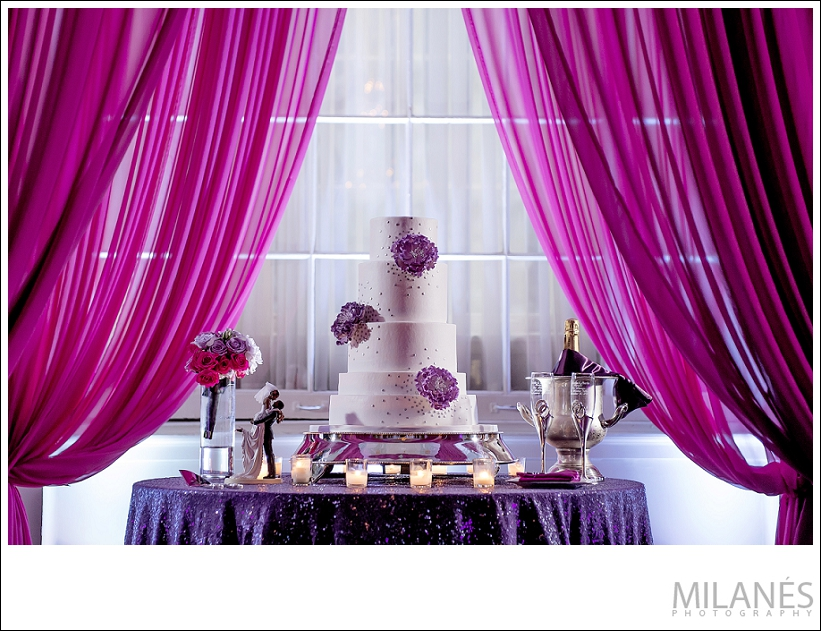wedding_recption_cake_pink_purple_flowers_candles