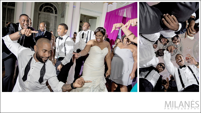 wedding_reception_bride_groom_party_dance_pink_modern