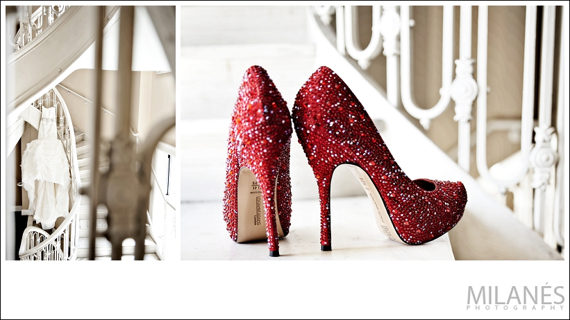 wedding_decor_details_red_high_heel_shoes_sparkle_white_dress_hanging_stair_case_beautiful_creative_modern_ideas
