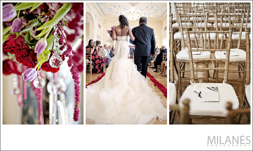 wedding_ceremony_decor_details_purple_red_flower_arrangements_crystals_seating_production_schedule_stationary_bride_father_daughter_white_dress_walk_aisle_beautiful_elegant_creative_modern_ideas