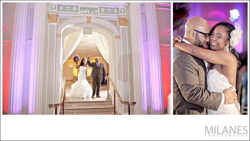 wedding_reception_bride_groom_just_married_entrance_white_curtain_dress_purple_red_boquette_beautiful_creative_modern_ideas