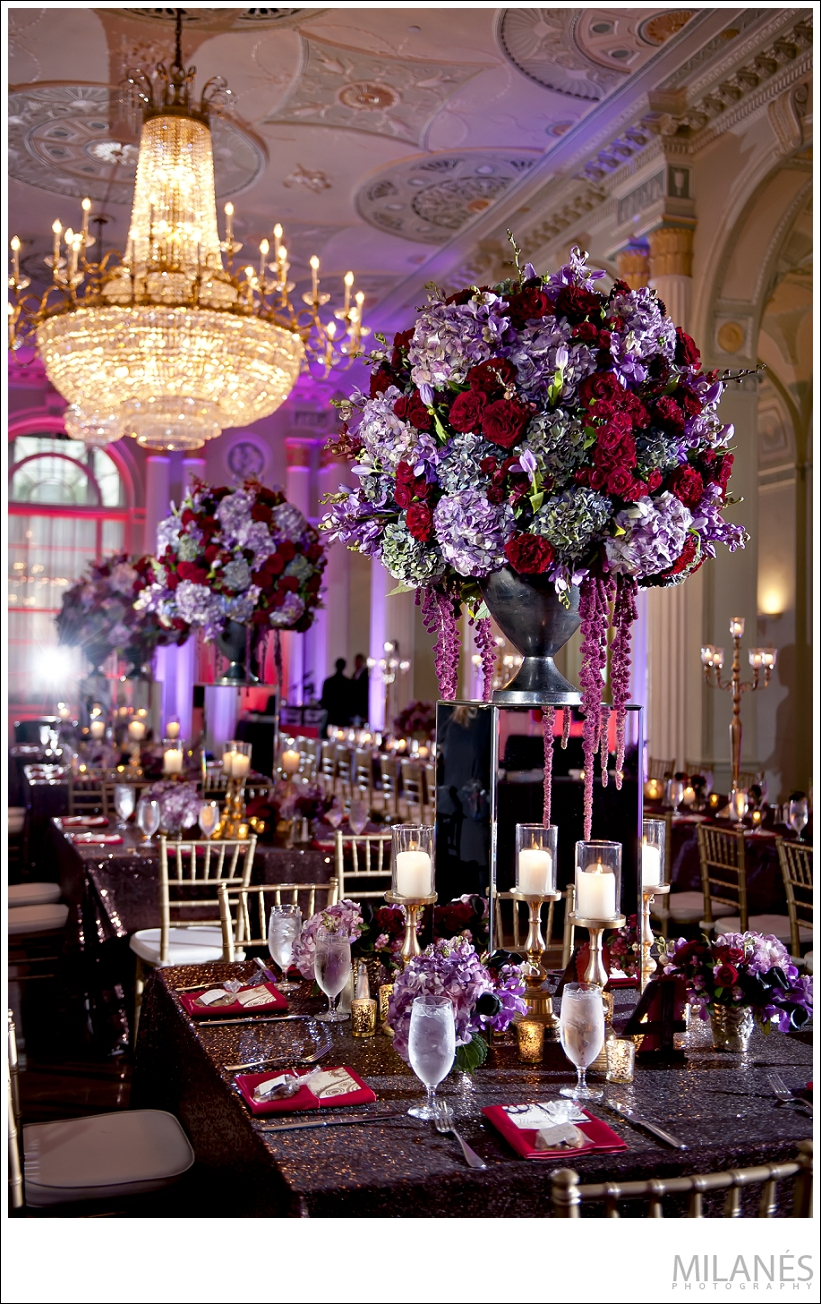 wedding_reception_biltmore_ballrooms_beautiful_table_arrangements_luxurious_elegant_purple_red_flowers_chandelier_creative_modern_ideas