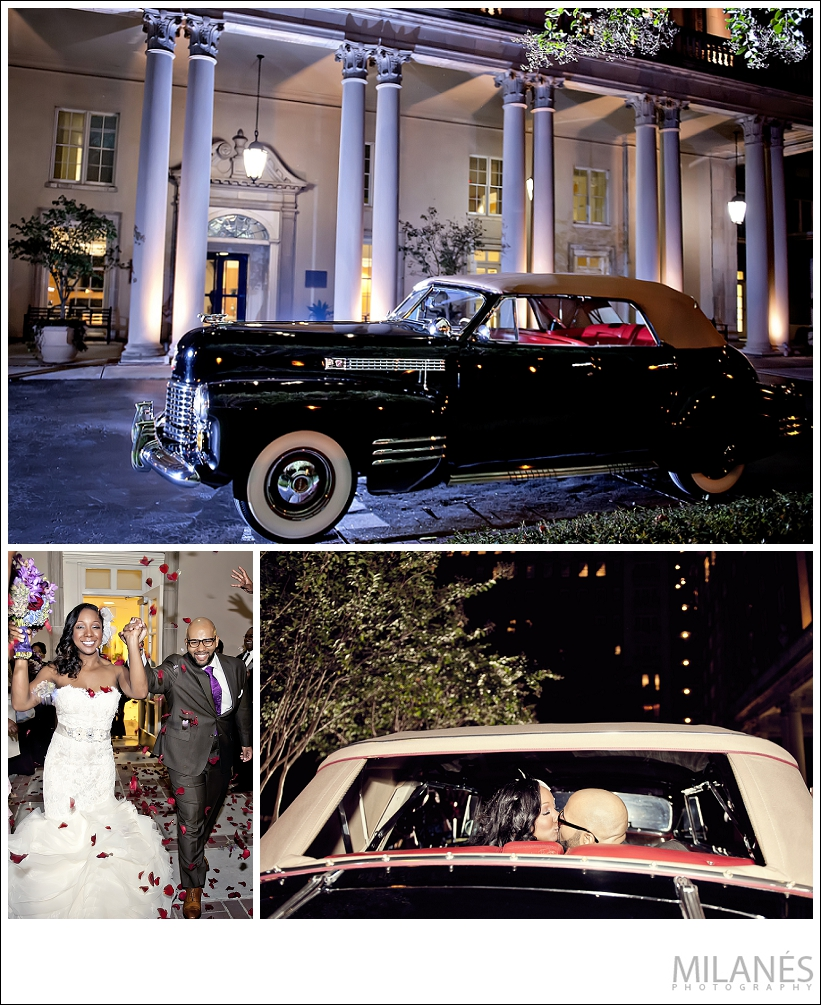 wedding_bride_groom_exit_reception_just_married_biltmore_ballrooms_cool_car_rose_petals_beautiful_creative_modern_ideas